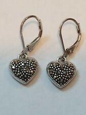 Vintage sterling silver 925 marcasite hearts earrings dangle drop