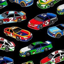 Kids Racing Fabric - Fast Track Race Cars Allover Black - Henry Glass YARD