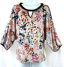 ECI Top Cold Shoulder Knit  Size XS  Tan & Pink Floral NWT $60