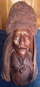 Early Large Manzanita Wood Carved Native American Chief Bust by Bob Boomer 1982