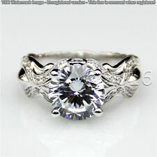 Moissanite Ring Wedding 925 Silver Ring 00 Superb 1.89 Ct Off White Yellow Real