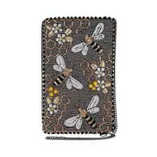 Mary Frances Bee Awesome Beaded Honeybee Crossbody Phone Bag Grey Bees Buzz NEW