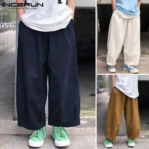 Mens Casual Hippie Pants Baggy Wide Leg Elastic Waist Solid Work Wear Bottoms AU