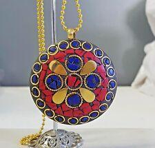 Large Brass Lapis Lazuli & Coral Nepali Style Pendant with chain