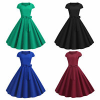 Women Vintage V Neck Pleated Dress Ladies Evening Party Ball Gown Mini Dresses