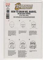 Champions #13 How to Draw sketch Ms. Marvel variant Nova Spiderman Hulk 9.6