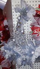 Christmas Santa Hat Deco Mesh Door Hanger/Wreath - Silver