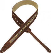 Levy's MSJ1 Brown Suede Guitar Strap With Jacquard Applique
