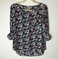 Loft Women's Top Size Small Floral 3/4 Roll-Tab Sleeves Casual Dressy Black Blue