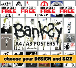 Banksy Posters Print Picture A3 A4 Various Posters Graffiti Artist Home Decor