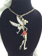 HUGE Whimsical Fairy Fantasy Pendant with Necklace Rhinestone *FREE SHIPPING*