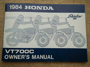 1984 84 Honda VT700C VT 700 Sombra Propietario Owner's Manual