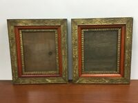 Matching PAIR Vintage ANTIQUE GILT ORNATE WOOD PICTURE FRAMES GESSO VICTORIAN
