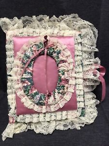 Vintage Handcrafted Fabric Lace Trim Ribbon Tie Closure Photo Album pink green
