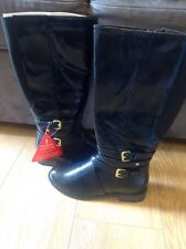So Fabulous! Adelaide Buckle Detail Patent Riding Boots in Black Size 3 BNWOB