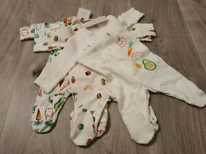 Next 3 X Sleepsuits First Size Baby Boys Or Girls BNWT