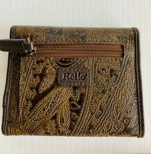 Relic By Fossil Embossed Brown Paisley Vegan Faux Leather Trifold Clutch Wallet
