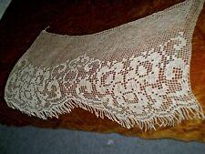 Vintage Beautiful  Handmade Lace Filet  Curtain