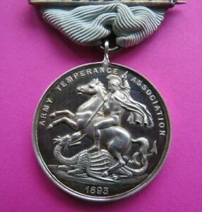 ARMY TEMPERANCE ASSOCIATION - HOME  ORGANISATION  1893   silver - medal <> USED