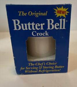 "The Original Le Bistro White Butter Bell Crock W/Blue Pinstripe New In Box 4.5"""