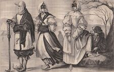 Gravure Patineurs Hollandais XVIIe siècle  Nederlandse schaatsers Nederland