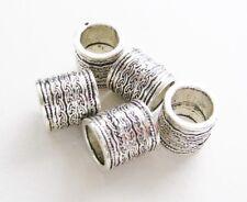 Metallperlen Metallspacer Barrel 13x14mm für Bänder 10mm 5 Stück Großloch Perlen