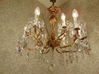 antik grosser 9 fl Kronleuchter Lüster Deckenlampe Bronze Gold Kristall ca.1920