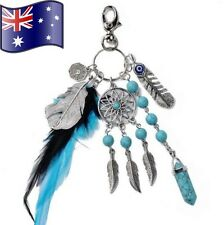 Aqua Dream Catcher Feather Keychain Tassel Pendant Keyring Key Chain Women Gift