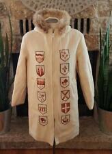 Vintage Hudson's Bay Ivory Wool Coat Hooded Fur Trim Provincial Shields Sz12