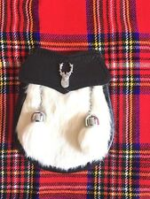 Child's Kilt Sporran White Rabbit Fur Stag Head/Kids Sporran Leather/Boy Sporran