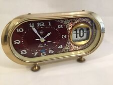 Vintage 1980s Chinese Red & Cream Wind Up Alarm Desk Clock Flip Calendar Working