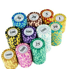 11pcs Two-color Crown Clay Containing Iron Chip Texas Poker Game Currency