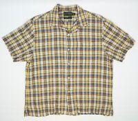 CC Filson Co Mens Summer Shirt L Yellow Blue Plaid Linen Cotton Loop Collar
