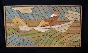 Theodore Degroot LATH ART Folk Painting Nautical FISHERMAN Listed Artist 1950s