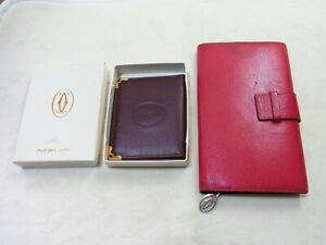 Cartier 2C Notepad Note Book Memo & Bordeaux Mirror Leather Card Case Lot 2