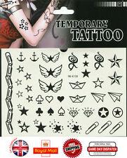 Black Star Waterproof Stencil Temporary Tattoo Transfer Sticker Body Art YM-K139