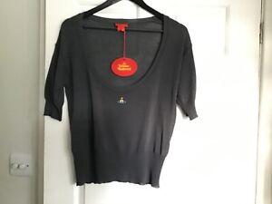 VIVIENNE WESTWOOD Red Label Scoop Knit Orb Vest Top Jumper Size M Grey BNWT