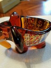 Heavy Amber Glass Elephant Single Pipe Holder Spanish Multi Color Markings