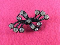Vintage Brooch Pin Bow Black Enamel Clear Rhinestones