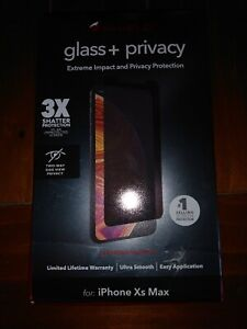 ZAGG InvisibleShield Glass+ Privacy Screen Protector For iPhone XS Max, Clear