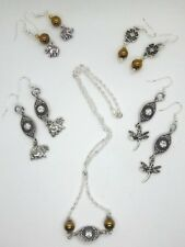 Dangly Earrings, Marcasite style detail + Matching Necklace.925 silver hooks