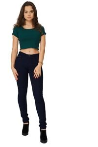 Ladies Womens New Navy Skinny Fit Mid Rise Denim Jeans Trousers Pant.Sizes:10-20