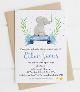 10 Personalised Baby Elephant  Christening/Baptism Invitations Blue/Pink