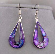 Alpaca Silver Purple Abalone Shell Tear Earrings Open Center Fashion Jewelry NEW