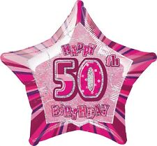 "20"" Happy 50th Birthday Party Pink Sparkle Star Foil Balloon"