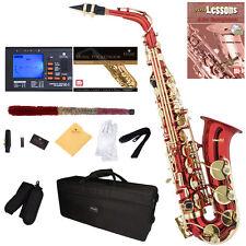 Mendini Red Lacquered Eb Alto Saxophone Sax +Tuner+CareKit+Case+Book ~MAS-RL