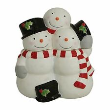TREE LOT Cookie Jar Canister Snowman Family St Nicholas Square Hand-Painted NEW