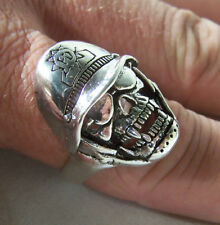 SKULL W POLICE HELMET BIKER RINGS BR117 HEAVY ring skulls mens fashion jewelry
