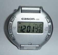 Cason Auto Flip Open Pocket Alarm Travellers Desk Clock  Calendar C93, NIB