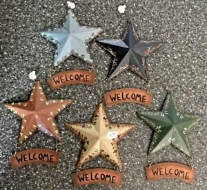 Brand New Country Metal Barn STAR WOOD WELCOME 5 Colors Sign Tin Decor 5.5 x 7